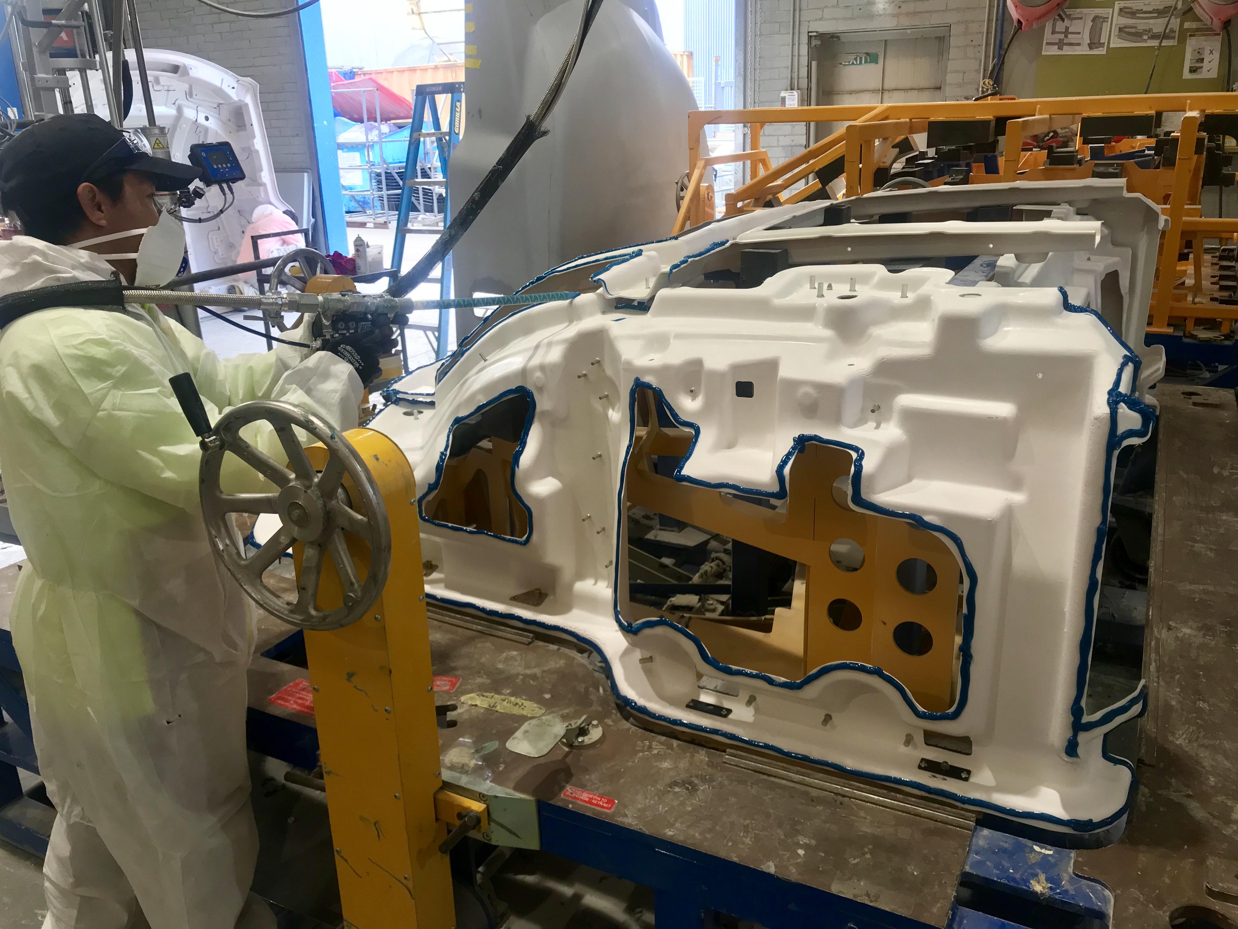 Image of our fibreglass moulding process